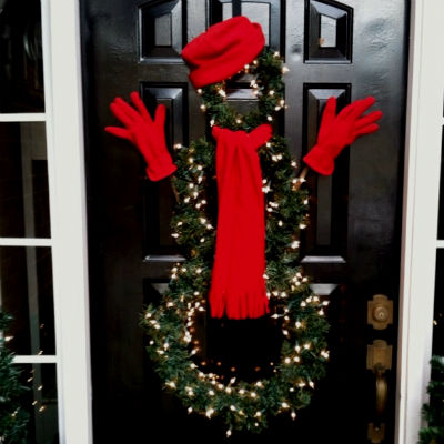 Венок снеговик на дверь, фото