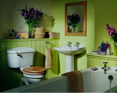 Brown and green bathroom