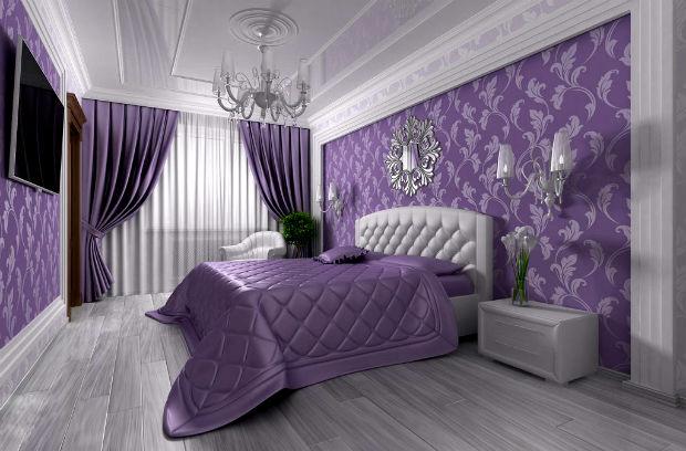 Спальни дизайн в фиолетовом цвете