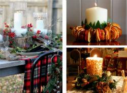 Новогодние композиции со свечами.