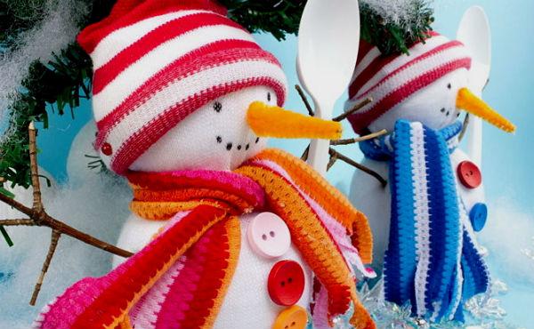 Как сделать снеговика из носка.