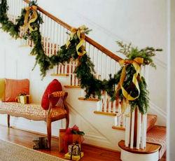 Новогодний декор лестницы.