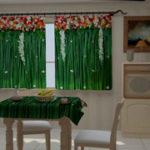 Яркие и сочные зеленые шторы для кухни. Фото