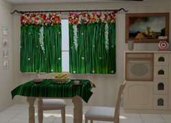 Зеленые шторы на кухню.