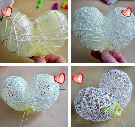 Как сделать сердце из ниток и двух шариков.