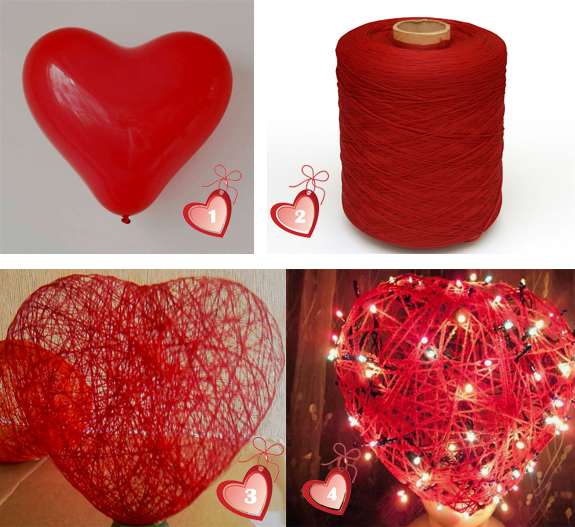 Как сделать сердечко из ниток и воздушного шара.