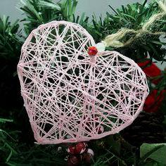 7 разных примеров сердечек из ниток.