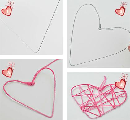 Как сделать сердце из ниток и проволоки.