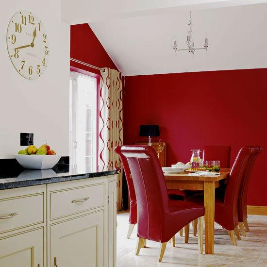 Красный цвет в интерьере кухни.
