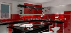 Дизайн кухни красного цвета.