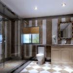 Игра на контрастах или стильная полосатая ванная комната