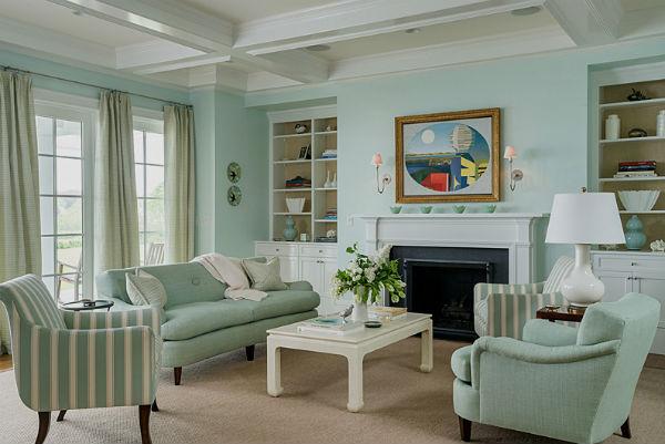 Мятный цвет в гостиной.