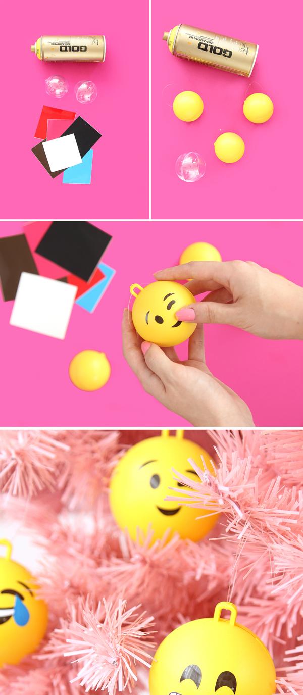Елочные шары в виде смайликов-эмодзи своими руками (мастер-класс)