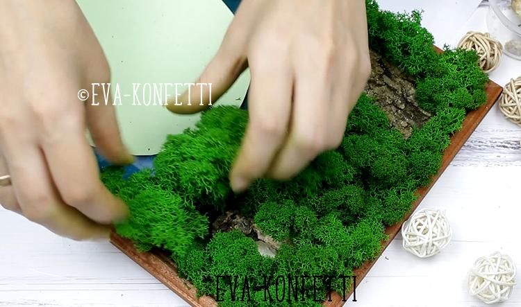 Волшебно красивая картина из мха своими руками (мастер-класс)